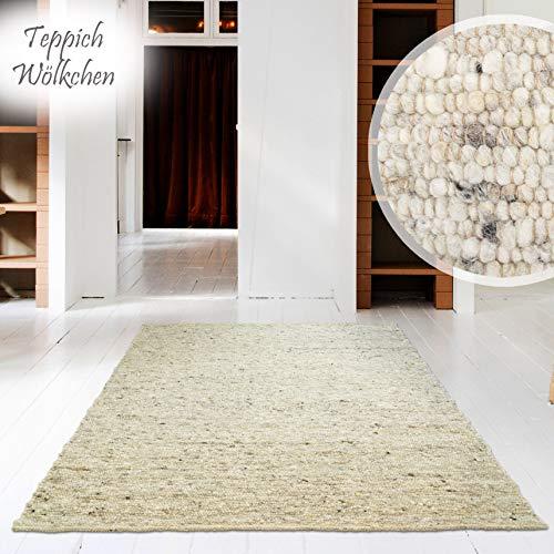 Hand-Web-Teppich | Reine Schur-Wolle im Skandinavischen Design | Wohnzimmer Esszimmer Schlafzimmer Flur Läufer | Grau Beige (Düne - 60 x 90 cm)