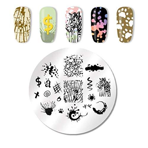Cebra con graffiti Patrones de plantillas de estampado de uñas DIY Diseños de uñas Placa de sello