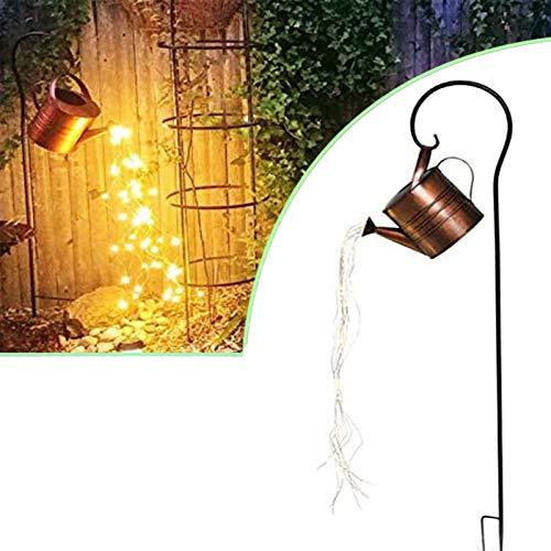 NNLX Esculturas y Estatuas de Ducha de Jardín de Estrellas, Regadera con Tiras de Luces LED de Hadas, Decoración Al Aire Libre para El Arte del Jardín,Bring Support