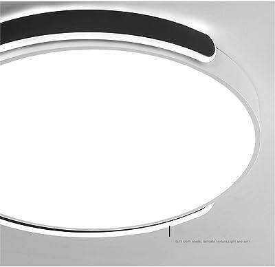 Eookall LED Moderne Plafond Lumière, 40W Ultrathin Télécommande Dimmable Moderne Ronde Lampe de Plafond, d'appareils d'éclairage pour Le Salon, Chambre, Salle à Manger,Noir,23inch77W