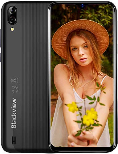 "Blackview A60 Teléfono Móvil 2GB+16GB (128GB SD), Pantalla 6.1"" (19.2:9) Water-Drop Screen Movil Barato, 13MP+2MP+5MP, 4080mAh Batería, Android 10 Smartphone Libre Dual SIM, GPS/WiFi/Hotspot-Negro"