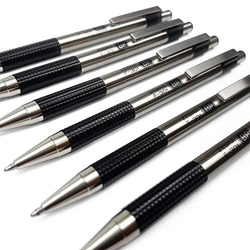 Zebra F-301 Druckkugelschreiber, Edelstahl, 1,0 mm breit, schwarze Tinte, 6 Stück