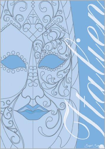 Onbekend in 5-delige set: wenskaart met Venetiaans masker en Italiaans opschrift