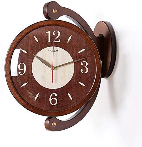 Preisvergleich Produktbild JINHUADAI Doppelseitiges Holz Wanduhr Mute kreative dekorative Uhr,  Holzwerkstoffen,  Zecke Nicht zu Hause,  im Büro,  in der Schule Glocke Wand