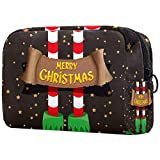 Bolsa de cosméticos Bolsa de Maquillaje para Mujer para Viajar Llevar cosméticos Cambiar Llaves, etc.,Patrón de Navidad Pies de Duende Estrella Dorada