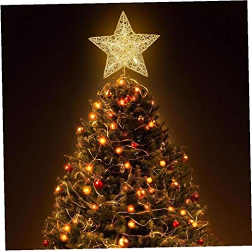 Christmas Tree Star Topper Lighted Glittered Tree-top Star for Christmas Tree Ornament Indoor Party Home Decoration Home and Garden Products