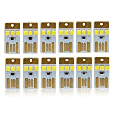Mini USB Light Ultra-Thin LED Low Power Portable Keychain Pocket Purse Card Lamp 3 SMD LED Power Bank Laptop Computer Lamp Camping Outdoor Backup Light Cute Size White Light Pack of 10 USBL-3D-W-10