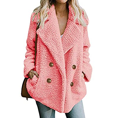DongDong??Women's Lapel Sherpa Coat,Casual Fleece Open Front Button Outercoat with Pockets Winter Warm Parka Jacket Outwear from DongDong