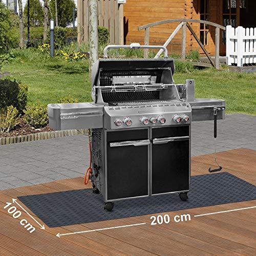 Paderbest24 Bodenschutzmatte Grillunterlage Grillschutzmatte SCHWARZ mit Riffelblechoptik 200x100cm