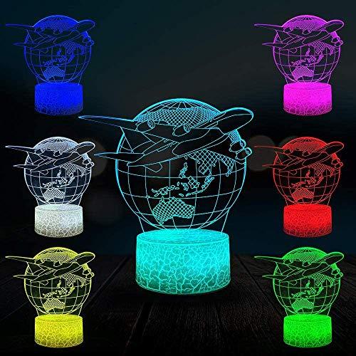 Avion Terre 3D Lampe Enfant LED Night Light Étudiant Accueil Chevet Décor Éclairage De Lave USB Multicolore Aviation Univers Enfant Cadeau