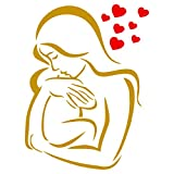 Baby Love Schablone – 11,5 x 16,5 cm (M) – wiederverwendbare Wandschablone für Mutter Baby Kind Junge Mädchen