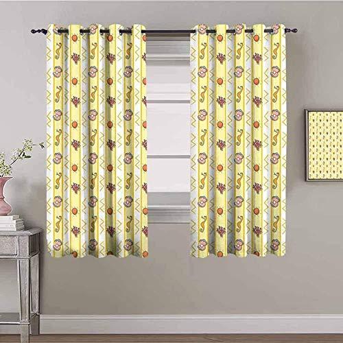 ZLYYH Cortinas Amarillo dibujos animados caballito de mar conchas 168x138cm Cortina opaca 95% cortinas opacas que bloquean cortinas para ventana para habitación de niños, sala de estar, dormitorio, ju