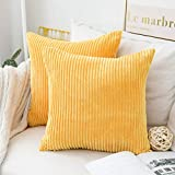 Home Brilliant Pillow Covers Super Soft Decorative Striped Corduroy Velvet Square Mustard Throw Pillow for Couch Sofa Cushion Covers Set of 2, 18x18 inch (45cm), Sunflower Yellow