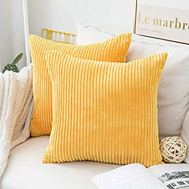 Home Brilliant Set of 2 Decorative Pillow Cover Solid Striped Corduroy Plush Velvet Cushion Cover for Couch, 20x20 inch (50cm), Sunflower Yellow