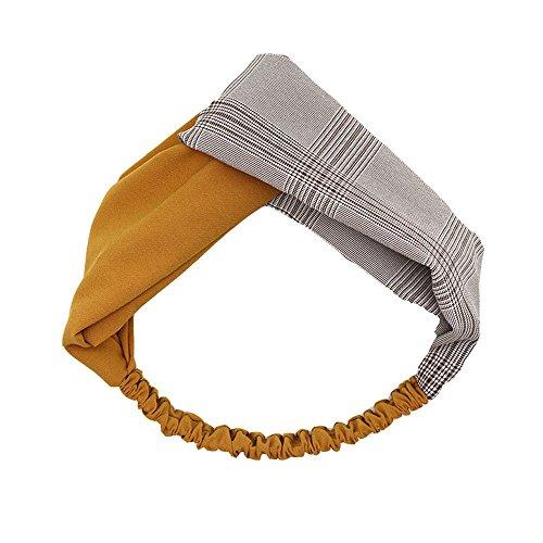 Accessoires cheveux couleur des coutures croix broadside bande de cheveux ligne simple douce fraîche femme Sen bandeaux pour les cheveux les cheveux et à carreaux jaune