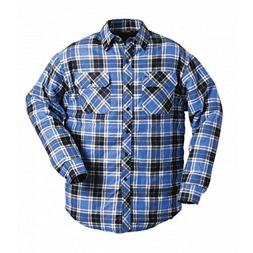 Craftland Ontario Thermohemden Blau   Grau   Rot   Kariert   100% Baumwolle   Pflegeleicht   Strapazierfähig   Brusttasche Gefüttert Durchgehende Knopfleiste (L, Blau-Kariert)