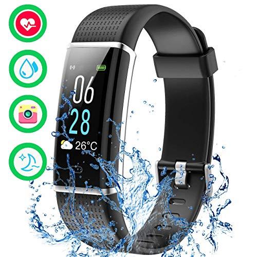 Mpow Fitness Armband mit Pulsmesser, Wasserdicht IP68 Fitness Tracker Fitness Uhr Pulsuhr Aktivitätstracker Schrittzähler Uhr mit Schlafmonitor SMS Anruf für Damen Herren für iOS Android Handy