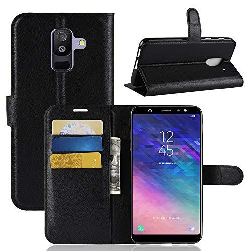 betterfon | Buch Tasche Hülle Etui Book Hülle Cover Schutz Hülle Handy Tasche für Samsung Galaxy A6+ 2018 Schwarz