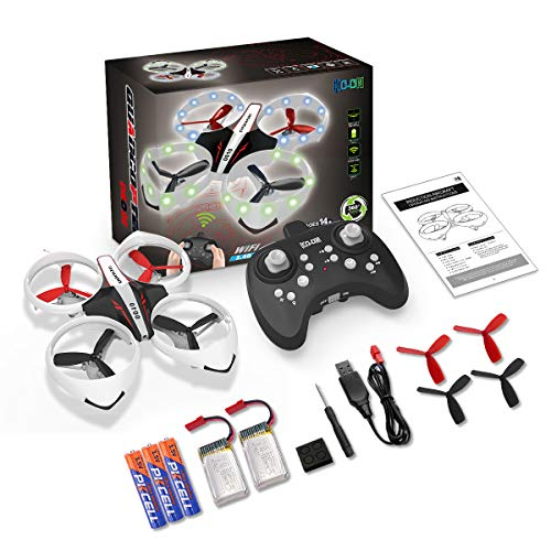 Headless Mode Altitude Hold KO-ON Drone for Kids and Beginners RC Helicopter Quadcopter with LED Lights 3D Flips One Key Take Off//Landing and Extra Batteries Toys for Boys and Girls