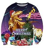 Idgreatim Mens Cool Spitfire Dinosaur Digital Print Crew Neck Pullovers Long Sleeve Ugly Christmas Sweater Sweatshirts L