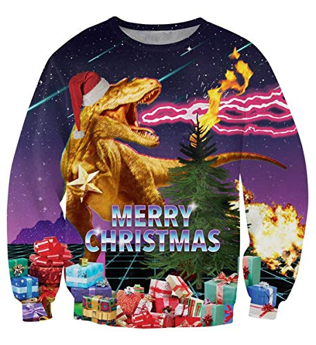 Idgreatim Mens Women Cool Spitfire Dinosaur Xmas Gift Sweater Pullovers Long Sleeve Ugly Christmas Jumper Sweatshirts XL