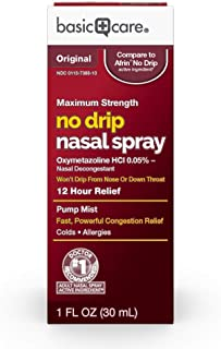 Basic Care No Drip Nasal Spray, Oxymetazoline HCl; Provides 12 Hour Nasal Congestion Relief, 1 Fluid Ounce