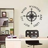 ONETOTOP Wandkunst Design wasserdicht Kompass Wandaufkleber mit personalisiertem Text All Lost Homeless Zitat Wandbild Wandbilder Dekoration Wandaufkleber 56x56cm weltweit