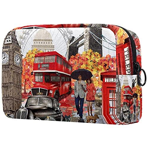 Bolsa de Maquillaje compacta Bolsas de cosméticos de Viaje portátiles para Mujeres niñas Neceser,Coche Cabina telefónica Big Ben