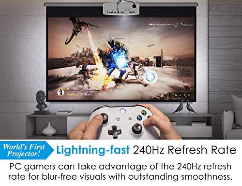 Optoma UHD50X True 4K UHD Projector for Movies & Gaming   240Hz Refresh Rate   Lowest Input Lag on 4K Projector   Enhanced Gaming Mode 16ms Response Time   HDR10 & HLG Compatibility   3400 lumens