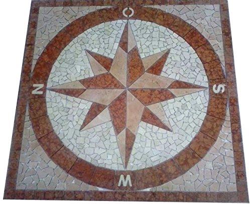 Marmor Rosone 120x120 cm Kompass Windrose Naturstein Mosaik Einleger Fliesen Rosso Verona 029