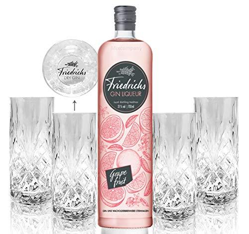 Friedrichs Gin Liqueur Grapefruit 0,7l 700ml (31% Vol) + 4x Friedrichs Longdrink Gläser Gin Tonic Bar- [Enthält Sulfite]