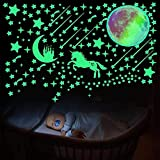 YUY 297pcs / Set De Adhesivos De Pared 3D Luminosos, Adecuados para Adhesivos Fluorescentes De Bricolaje En La Oscuridad De La Habitación De Los Niños,Green