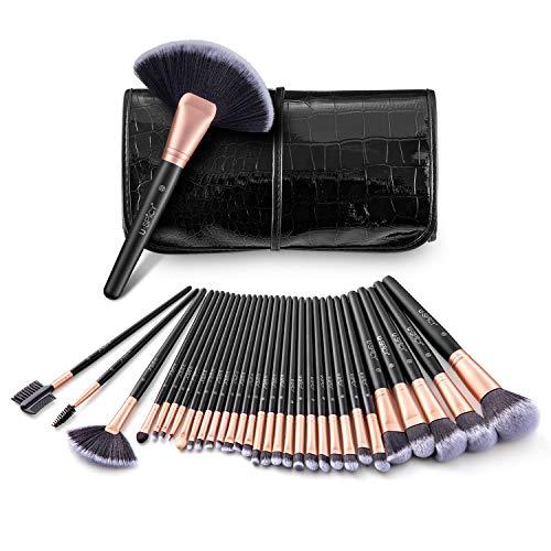 USpicy Pinceaux de Maquillage Professionnel Lot de 32 avec Pochette de Voyage, Makeup Brushes Complet avec Fibres Synthétiques Souples pour Tous Types de Maquillage - Or
