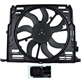 BOXI Radiator Cooling Fan Assembly Compatible with Select 2009 2010 2011 2012 2013 2014 2015 B-M-W F01 F02 F10 F11 F12 F13 528i 530i 535i 640i 740i 740Li (l6 3.0L) Replaces # 17428509741