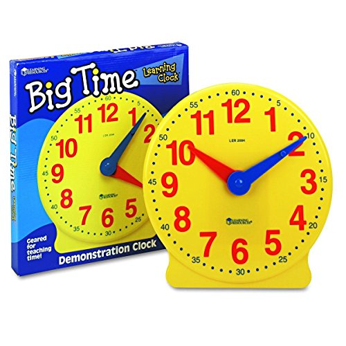 Learning Resources- Reloj Big Time 12-Hour Demonstration Learning Clock, Color (0 LER2094)