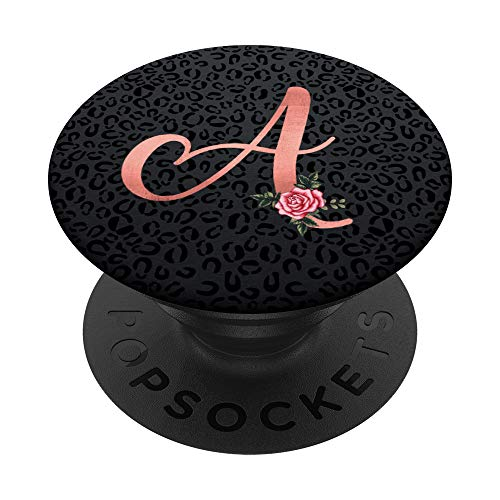 Black Leopard Cheetah Letter A Initial Monogram Pink Rose PopSockets PopGrip: Swappable Grip for Phones & Tablets