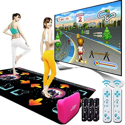 MKIU Drahtlose Doppelte Tanzmatten, Verdickte Tv-Computer Somatosensorische Tanzmatte Mit Doppeltem Verwendungszweck, 3D Hd Bild, Musikspielmatte Für Erwachsene/Kinder,