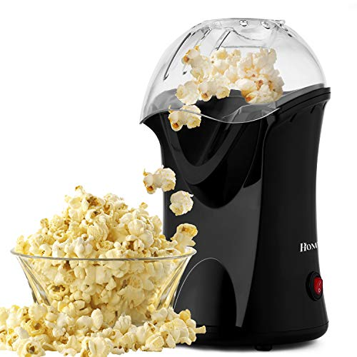 Homdox Hot Air Popcorn Popper, No Oil Popcorn Maker with Measuring Cup and Removable Lid, Healthy Snack, Great for Kids, Black(1200W)