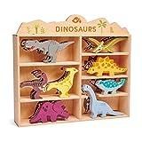 Tender Leaf Toys Estante de madera para animales de dinosaurio con Tyrannosaurus Rex, Velociraptor, Parasaurolophus, Triceratops, Pterodactyl, Stegosaurus, Ankylosaurus y Brontosaurus Toy