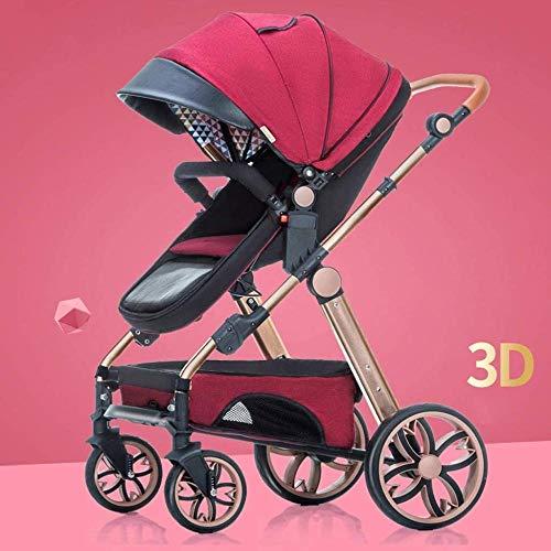 HZYD Poussette bébé, poussette Reclining convertible, pliable et portable Pram transport anti-chocs en aluminium avec cadre Poussette, 5 points Harnais et haute capacité Panier (Couleur: Rouge) Kyman,