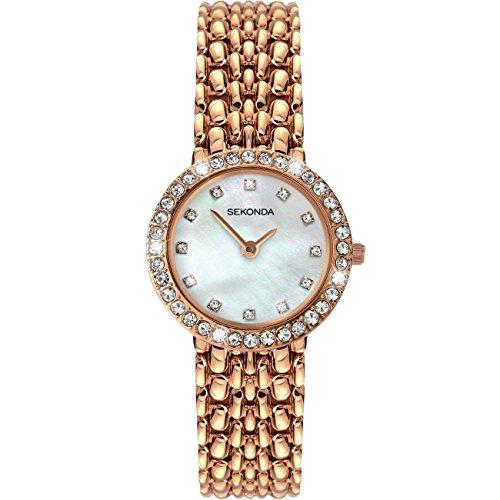Sekonda Señoras Reloj 2405 - Madre Blanca Perla Dial Pulsera Oro Rosa