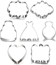 Wedding Cookie Cutter Set-7 Piece-3 Inches-Heart, Diamond Ring, Wedding Cake,Wedding Dress, Rectangle, Square and Oval Plaque Cookie Cutters Molds for Bridal Shower Engagement