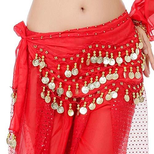 The Turkish Emporium Ceinture/Costume Danse Orientale Sequins dorés, Rouge, Belly Dance Foulard Hip