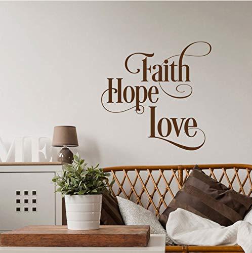 Lovemq Glaube Hoffnung Liebe Wandtattoo - Inspirierende Wandtattoo - Schrift Home Decoration - Bibelvers Wandtattoo Wasserdicht 57X57Cm