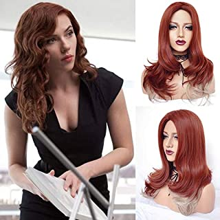 IVY HAIR Synthetic New Style Avenger 4 Endgame Black Widow Cosplay Wig Sewing Machine Long Wavy Copper Red Blond Hair Orange Ombre Blonde Curly Avenger Black Widow Costume Wig For Women Halloween Use