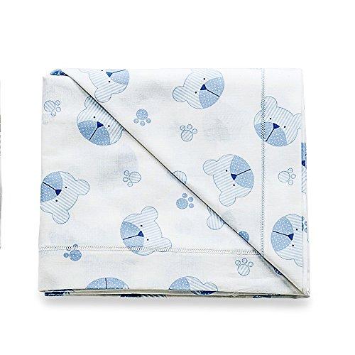 Italbaby 020.1000-004, Lenzuolino completo 3 pezzi, In cotone, Fantasia tenerezza azzurro
