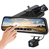 Backup Camera 10 inch Mirror Dash Cam Dual Lens Front Rear Dash Camera 1080P Full Touch Screen Video Streaming Rear View Mirror Loop Recording, Parking Monitor, Night Vision, Waterproof Rear Camera