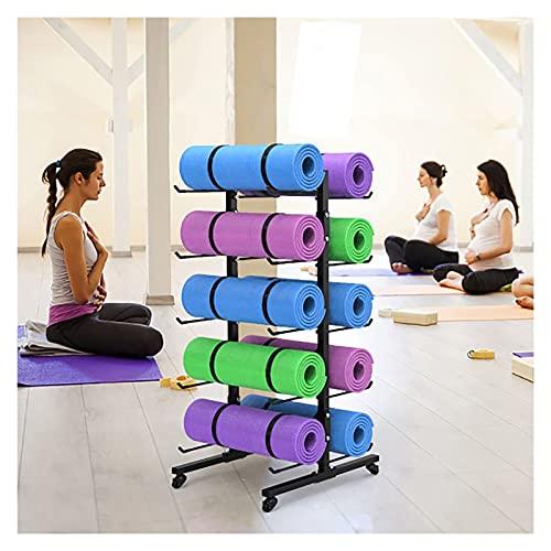 HYDT Estante de la Estera de Yoga Estante de Almacenamiento Grande para Estudio de Yoga, Soporte de Rodillo de Espuma Móvil Negro para Gimnasio, Estante para Tapete de Yoga