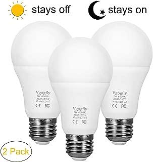 Dusk to Dawn Light Bulb 7W Smart Dusk Till Dawn LED Photo Sensor Bulbs E26 Base Socket Outdoor Indoor Lighting Lamp Auto On/Off (Cool White, 3-Pack) by Vgogfly