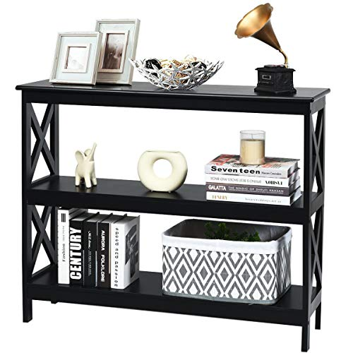 40' Black Elegant X-Design Console Table with Shelves for Entryway or Hallway, Classic Entry Sofa Tables Bookshelf, Living Room Accent Furniture
